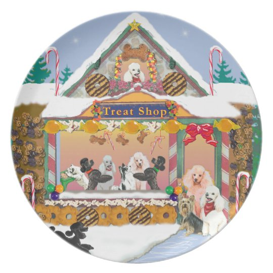 Poodle Christmas Treat Shop Gingerbread House Plate