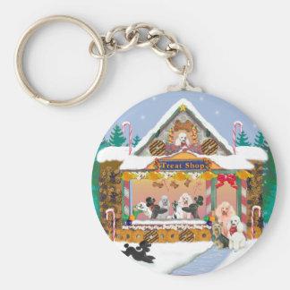 Poodle Christmas Treat Shop Holiday Basic Round Button Keychain
