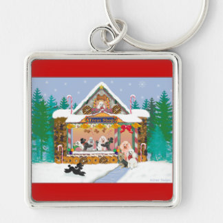 Poodle Christmas Treat Shop Holiday Silver-Colored Square Keychain
