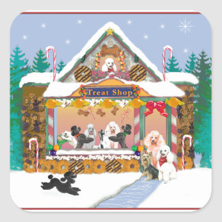 Poodle Christmas Treat Shop Square Sticker