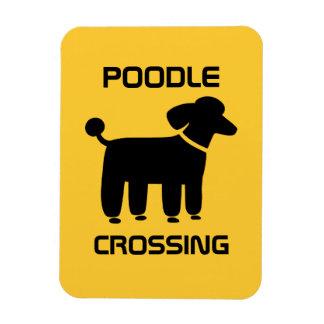 Poodle Crossing - Black on Yellow - Customizable Rectangular Photo Magnet