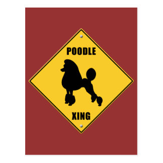 Poodle Crossing (XING) Sign Postcard