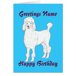 Poodle customizable birthday card add name front
