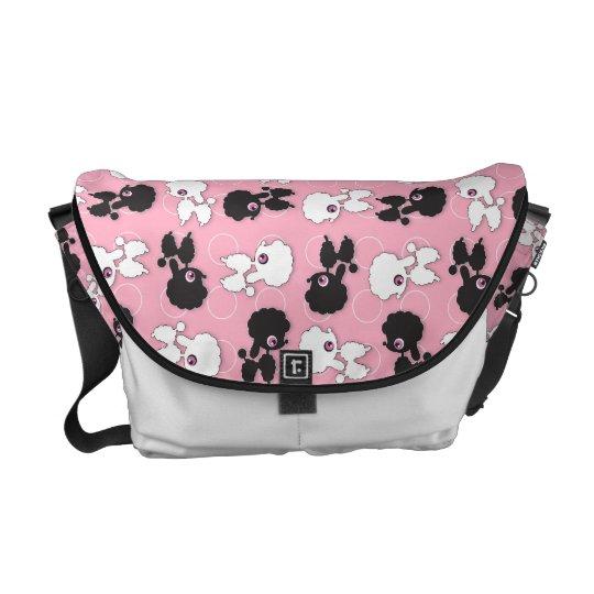 Poodle Cuties on Pink Messenger Bag