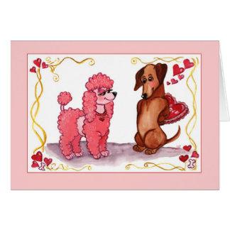 Poodle Dachshund Dog Valentine Card