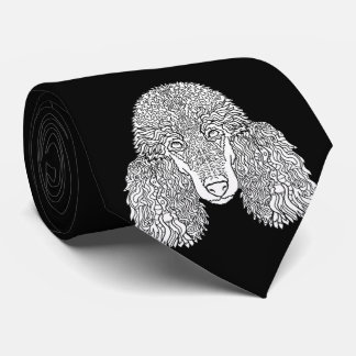 Poodle - Detailed Dogs Neck Tie