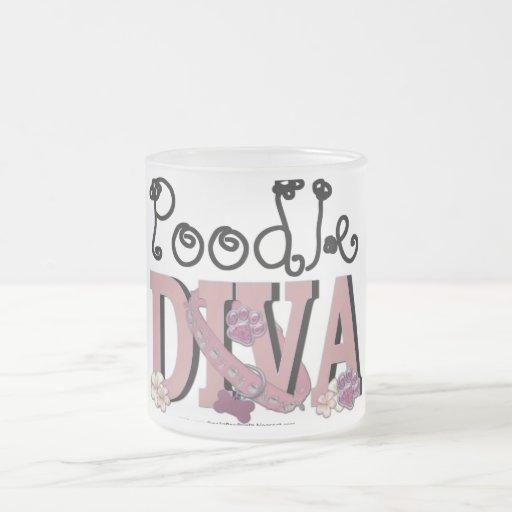 Poodle DIVA 10 Oz Frosted Glass Coffee Mug