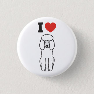 Poodle Dog Cartoon Button