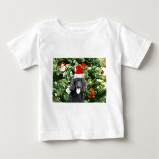 Poodle Dog Christmas Tree Snowman Red Santa Hat Baby T-Shirt