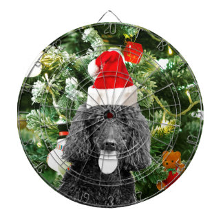 Poodle Dog Christmas Tree Snowman Red Santa Hat Dartboard With Darts