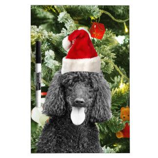 Poodle Dog Christmas Tree Snowman Red Santa Hat Dry Erase Board