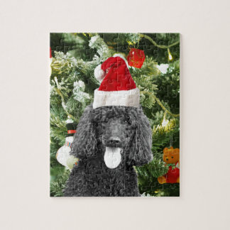 Poodle Dog Christmas Tree Snowman Red Santa Hat Jigsaw Puzzle