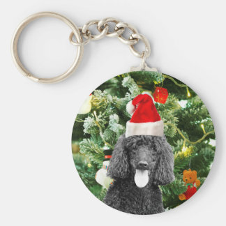Poodle Dog Christmas Tree Snowman Red Santa Hat Keychain