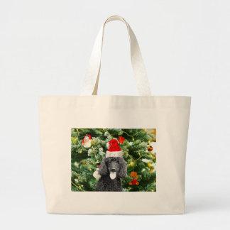 Poodle Dog Christmas Tree Snowman Red Santa Hat Large Tote Bag