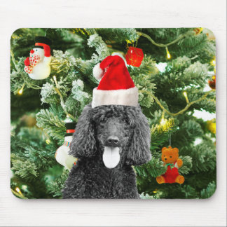 Poodle Dog Christmas Tree Snowman Red Santa Hat Mouse Pad