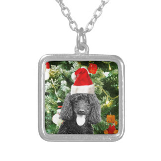 Poodle Dog Christmas Tree Snowman Red Santa Hat Square Pendant Necklace