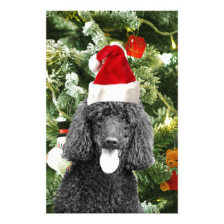 Poodle Dog Christmas Tree Snowman Red Santa Hat Stationery