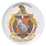 Poodle Dog Crest Plate with the flag of France