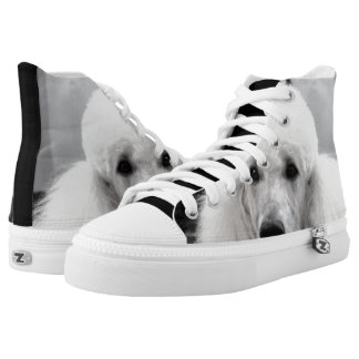 Poodle dog high top tennis shoes printed shoes