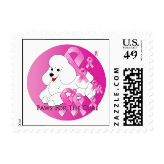 Poodle Dog Pink Ribbon Postage Stamp