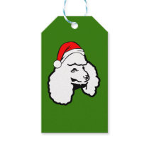 Poodle Dog  with Christmas Santa Hat Gift Tags