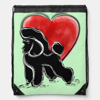 Poodle Drawing Drawstring Bag