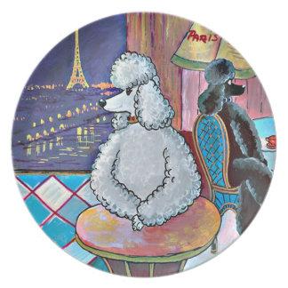 Poodle Eiffel Tower Impressionist Painting Melamine Plate