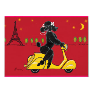 Poodle & Eiffel Tower Red Invite