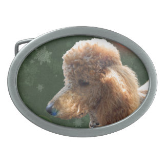 POODLE FOR THE HOLIDAYS BELT BUCKLE
