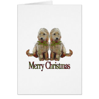 Poodle, Golden Doodle Couple Christmas: Art Card