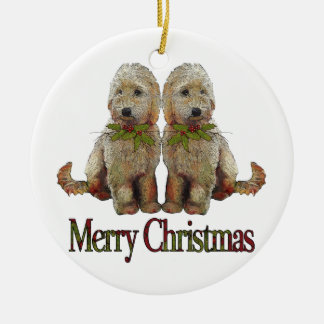 Poodle, Golden Doodle Couple Christmas: Art Ceramic Ornament