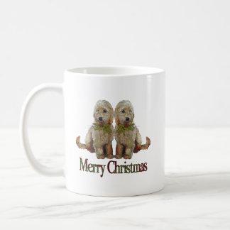 Poodle, Golden Doodle Couple Christmas: Art Coffee Mug