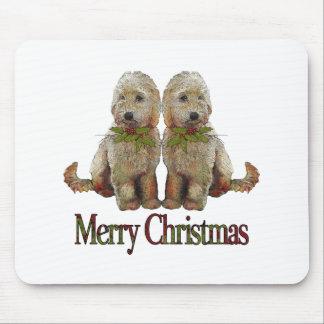 Poodle, Golden Doodle Couple Christmas: Art Mouse Pad