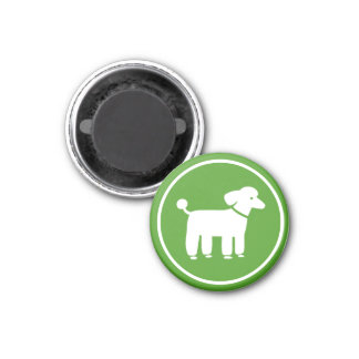 Poodle Graphic (Green) 1 Inch Round Magnet