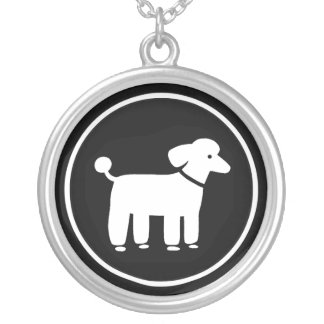 Poodle Graphic (White on Black) Silver Plated Necklace
