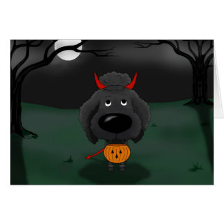 Poodle Halloween Card