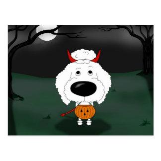 Poodle Halloween Postcard