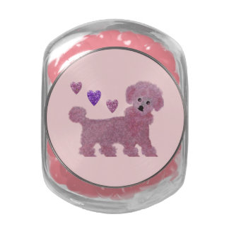 Poodle Hearts Jelly Belly Candy Jar