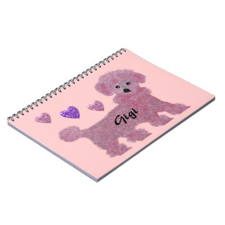 Poodle Hearts Personalized Spiral Notebooks