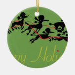 Poodle Holiday card Double-Sided Ceramic Round Christmas Ornament