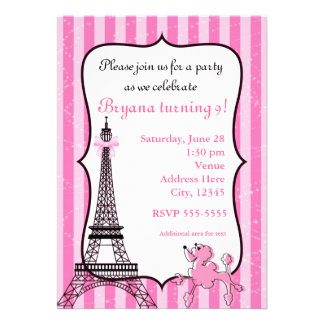 Poodle in Paris Pink Striped Eiffel Tower Chic Announcement