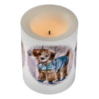 Poodle in Sweater Christmas Flameless Candle