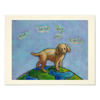 Poodle is best dog on earth cute art painting custom announcement