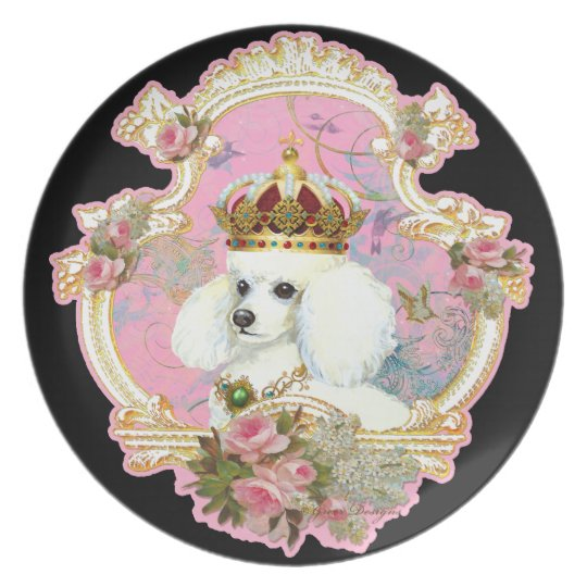 Poodle King/Princess with Pink Roses Melamine Plate