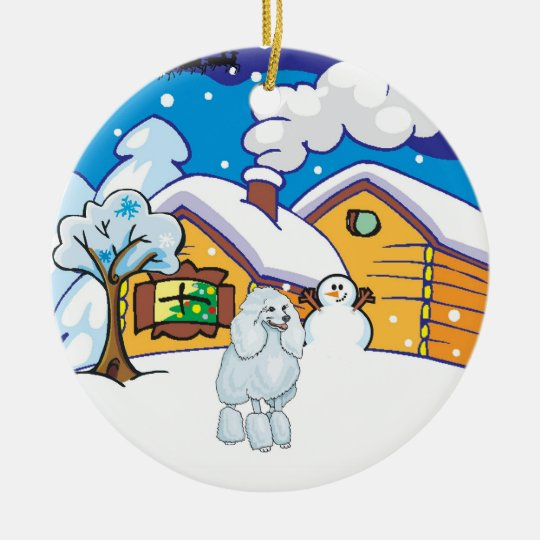 Poodle Log Cabin Ceramic Ornament