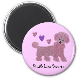Poodle Love Hearts 2 Inch Round Magnet