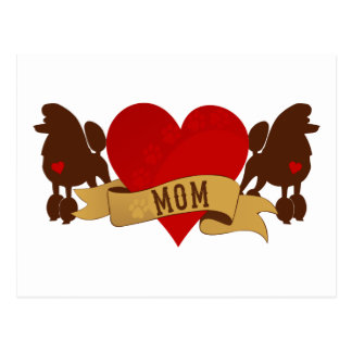 Poodle Mom [Tattoo style] Postcard