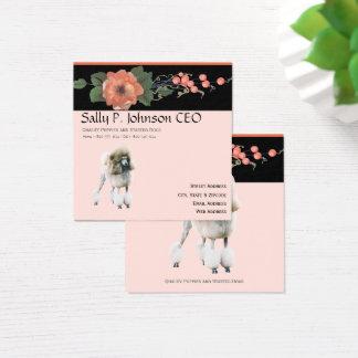 Poodle on Black Melon Floral Square Business Card