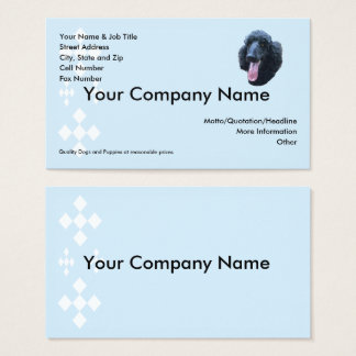 Poodle on blue with white diamonds business card