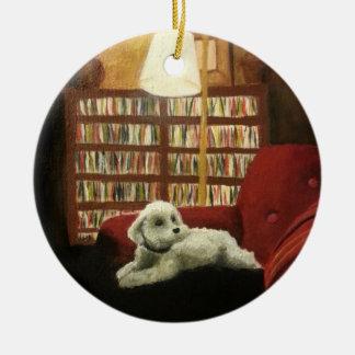 Poodle on Chair Pet Portrait Ceramic Ornament